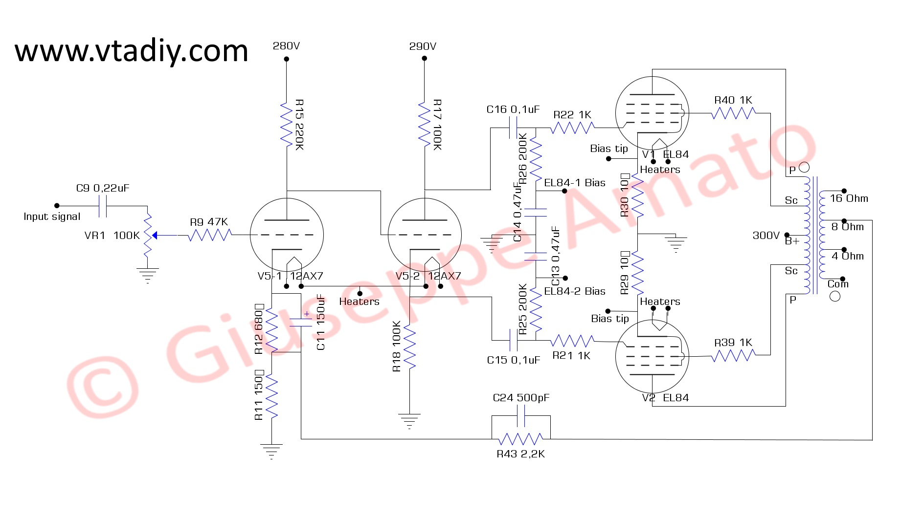Il Terzo (12AX7+EL84) - Vacuum Tube Amplifiers - DIY